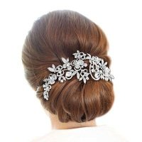 Sparkly Long Flower Hair Comb Rhinestone Hairpins Bridal ...