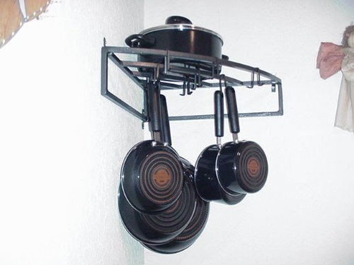 Image of Wall Corner Pot Pan & Cookware Rack Hand Crafted in USA (B004AQIFT8)