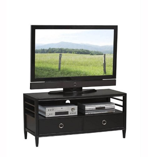 Image of TV Media Stand with Ladder Design and Drawers in Black Finish (AZ00-49187x17610)