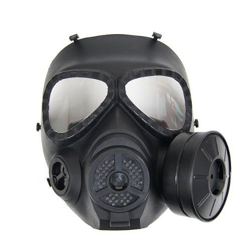 M04ガスマスク型 フルフェイスゴーグル BK [くもり防止ファン搭載]