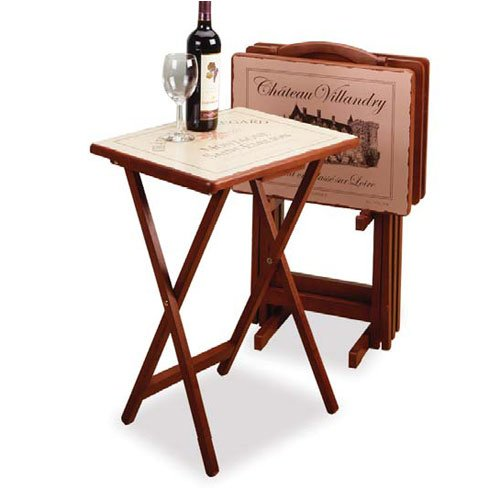 Image of 5 Piece TV Table Set with Stand in Walnut with Wine Label Silk Screen (AZ32-18932)