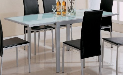 Image of Tempered Frosted Glass Top Metal Kitchen Dining Table (VF_AZ00-45950x28282)