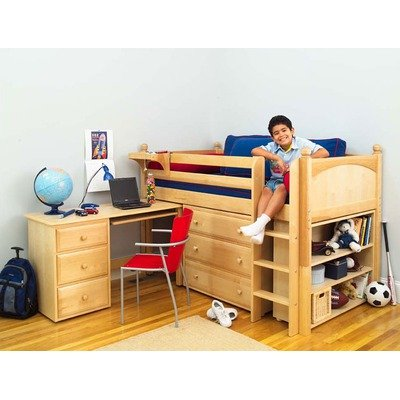 Image of Maxtrix Kids Box 3L / One One 3L Twin Box Low Rider Bed with Student Desk, Dresser, and Bookcase (Box 3L / One One 3L)