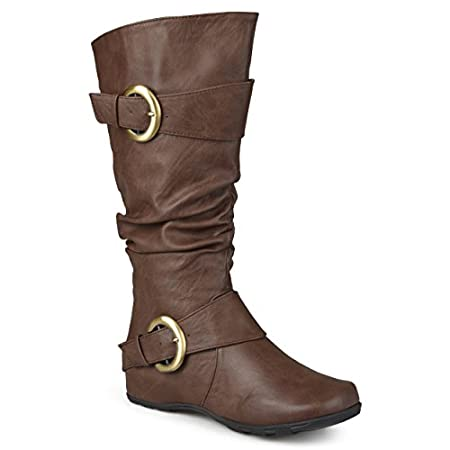 Step into the best style of the season in tall boots by Brinley Co. These wide-calf boots feature premium faux leather uppers with a wide-calf style that raises mid-calf and highlights a subtle slouchy design with wide straps and buckle accents. Thes...