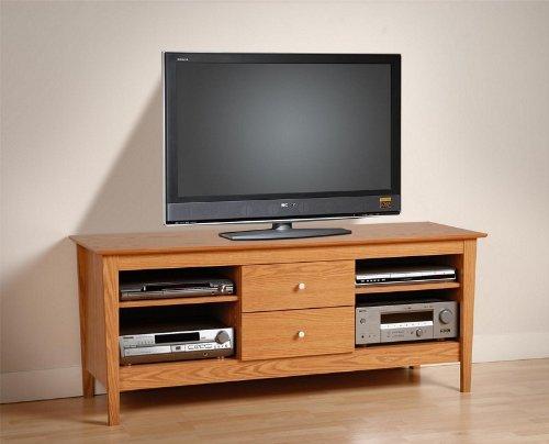 Image of Plasma TV Stand Console Table with Media Storage Oak Finish (AZ00-46198x21326)