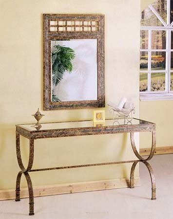 Image of 2pc Entry Way Console Table & Mirror Set Brown Metal Frame (VF_AZ00-42303x21551)