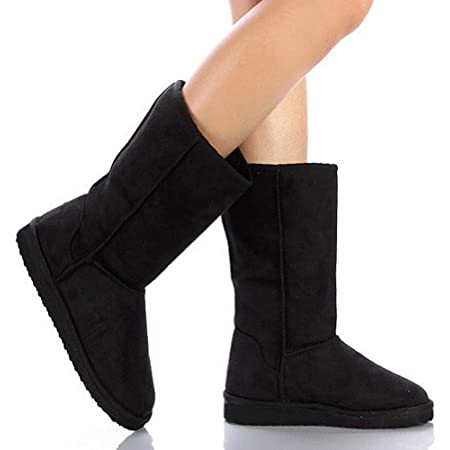 """Get cozy and comfy in these calf-high Soda """"Soong"""" eskimo boots with comfortable soft faux fur lining that covers the entire interior of the boots. Moreover, it has a soft faux suede upper and snuggly faux shearling lining that will keep you warm in ..."""