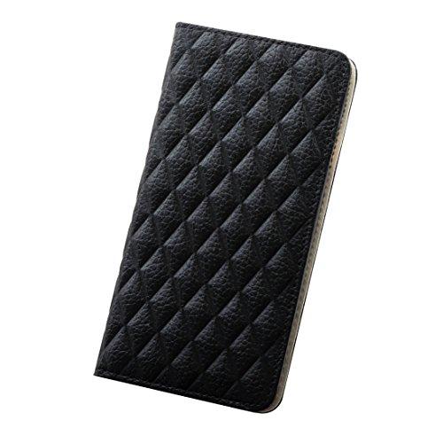 S 【 iPHone6 】 本革 イタリアンレザー キルティング型押し 手帳型ケース 【DM】 (iPhone6, ブラック)