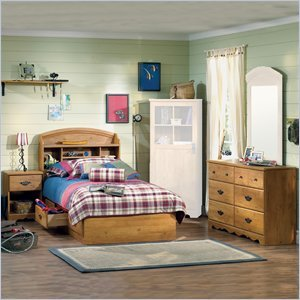 Image of South Shore Prairie Kids Twin Wood Bookcase Bed 4 Piece Bedroom Set in Country Pine (3232080-4PKG)