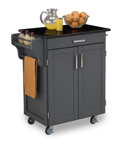 Image of Kitchen Cart with Black Granite Top in Gray Finish (VF_HY-9001-0084)