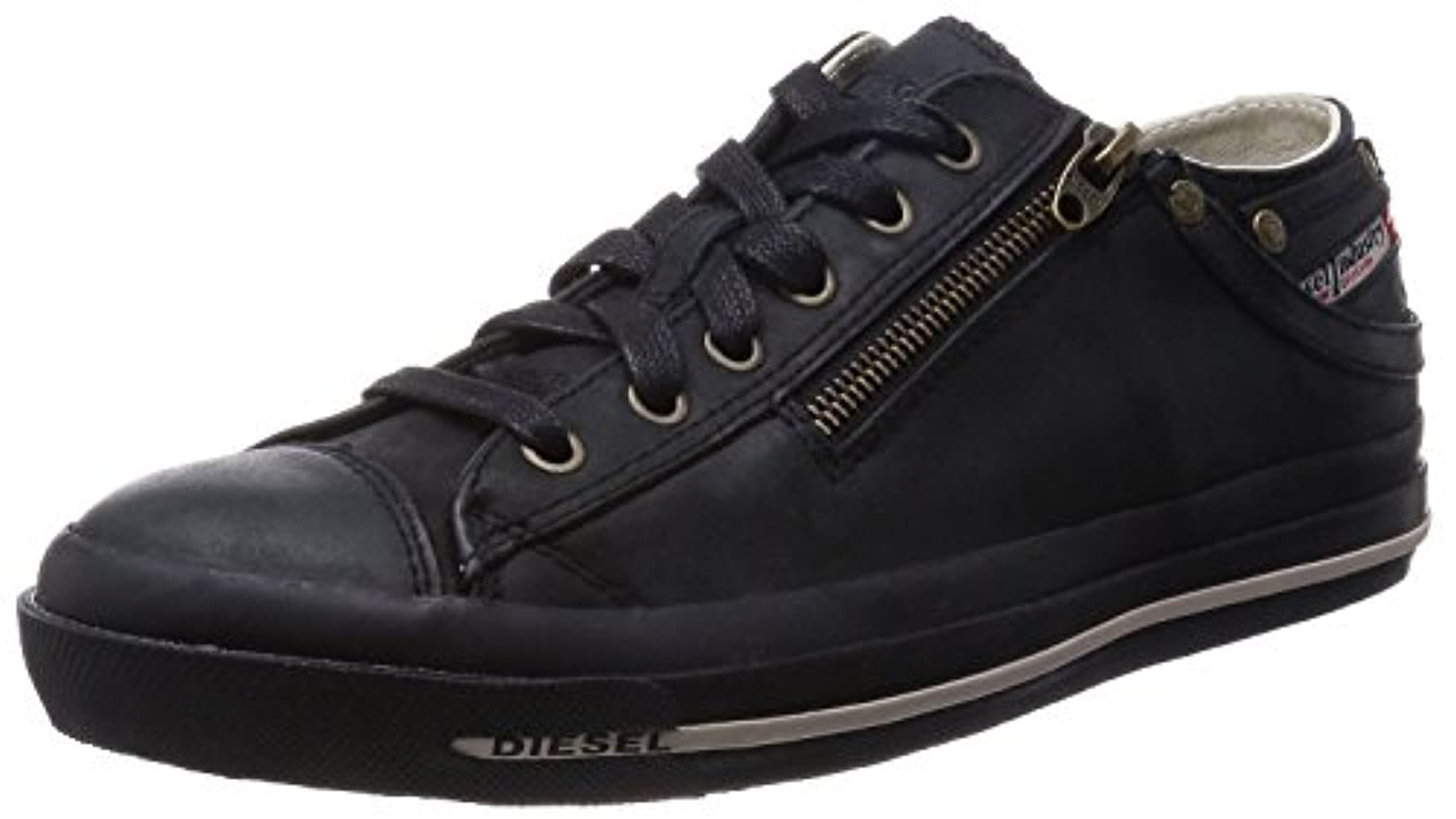 Diesel Expo Zip Low Black Leather Mens Trainers Shoes 9