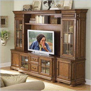 Image of Riverside Furniture Seville Square Warm Oak 63 Inch TV Stand Entertainment Wall System (8943-PKG)