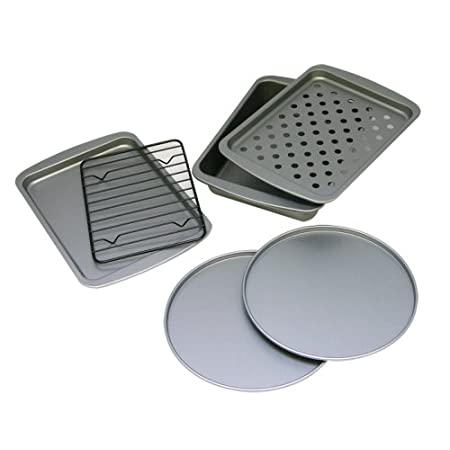 The OvenStuff Non-Stick Six Piece Personal Size Baking Pan Set includes two 7.7 inch  Pizza Pans, one 8.5 inch x6.5 inch  Cookie Pan with Rack, and one 8.5 inch x6.5 inch  Two Piece Fat-A-Way Bake and Broil Pan.  Each pan is coated with a DuraGlide P...