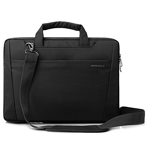 BRINCH-Nylon-Lightweight-Durable-Laptop-Shoulder-Case-Carrying-Messenger-Bag-Briefcase-For-13-14-Inch-Laptop-Notebook-MacBook-Chromebook-Computers-with-Shoulder-Strap-and-Pockets-Black