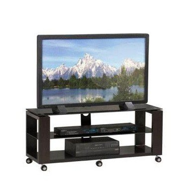 Image of TV Media Stand with Solid MDF Legs in Rich Black Finish (AZ00-49195x17617)