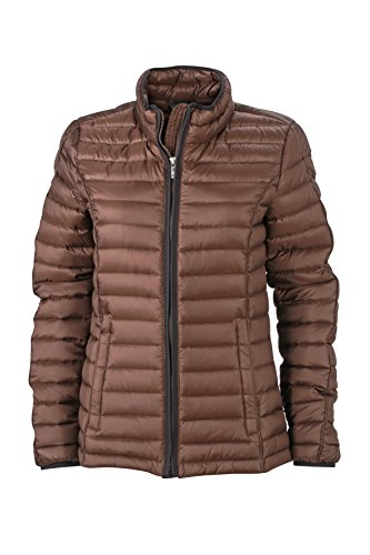 James & Nicholson Damen Daunenjacke Ladies Quilted Down Jacket, Coffee/Black, L, JN1081 cfb