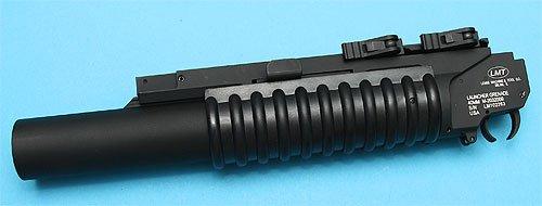 【様々なARに!】G&P GP-GRE003L LMTタイプM203QDグレネードランチャー(L) /BK(黒・ブラック)★20mmレールに簡単装着QDマウント!検)サバイバルゲームトイガン電動ガン