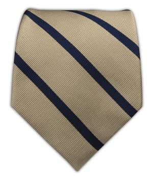100 Woven Silk Light Champagne And Navy Striped Tie At