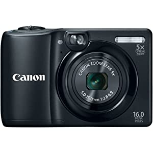 Canon PowerShot A1300 16.0 MP Digital Camera with 5x Digital Image Stabilized Zoom 28mm Wide-Angle Lens with 720p HD Video Recording (Black)