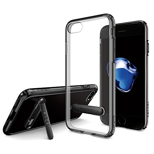 iPhone-7-Case-Spigen-Ultra-Hybrid-S-JET-BLACK-Optimized-Jet-Black-Clear-back-panel-TPU-bumper-with-Metal-Kickstand-for-iPhone-7-042CS20839