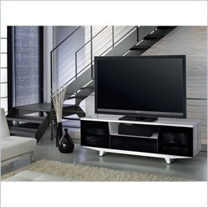 Image of on BDI Marina 8729-2 GWH Wide Flat Panel TV Stand for 50-82 inch Screens Gloss White (8729-2GW)
