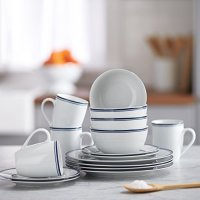 AmazonBasics 16-Piece Cafe Stripe Dinnerware Set, Service ...