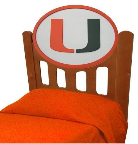 Image of University of Miami Hurricanes Kids Wooden Twin Headboard With Logo (C0526S-Miami)