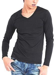 (スペイド) SPADE Tシャツ インナー 裏起毛 Vネック Uネック タートルネック 【w542】 (M, Vネック×ブラック)