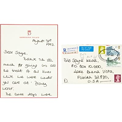 A thank you letter from Diana for when she and her sons went to - po template