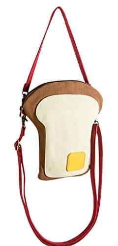 EOZY ガジェットポーチ ショルダー型 ポーチ 小物入れ 携帯 可愛いトースト造型 レディース ガールズ ケース パスケース 小銭収納 お出かけ便利