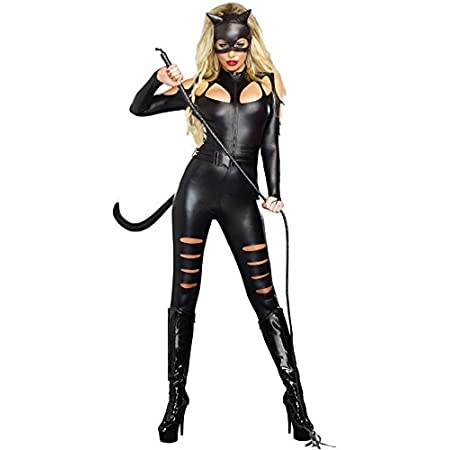 Out at night this feline likes to prowl, you'll know when she's finished because she lets out a howl. It's time for some frisky feline fun in this sexy, body-hugging metallic black bodysuit with ripped front pant leg and shoulder detailing, attached ...
