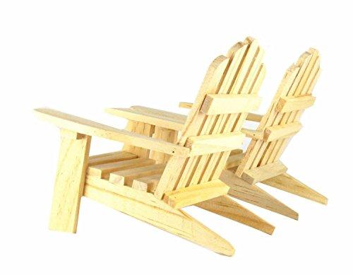 Mini Decorative Adirondack Style Plain Wood Chairs Set Of