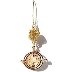 """Delicate Charmed Crystal-Encrusted """"HP"""" Gold Time-Turner Hanging Ornament"""