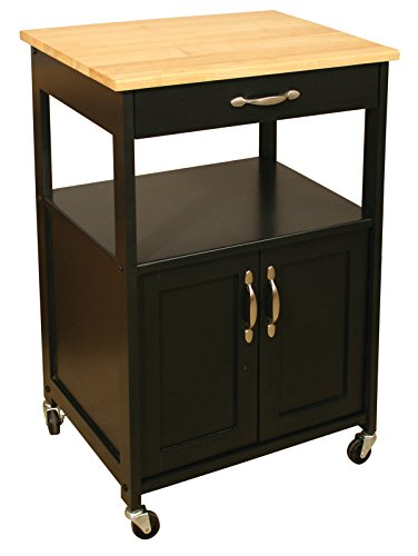 Ready Assembled Kitchen Islands Catskill Craftsmen Kitchen Trolley, Black Base/natural Top