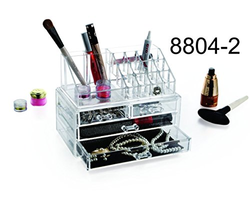 9milelake 3 Storage Clear Acrylic Transparent Makeup Box