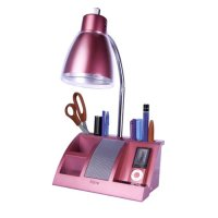 New iHome iHL24 Pink Colortunes Desk Organizer Lamp, iPod