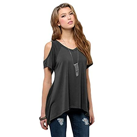 Feature: batwing sleeve, off shoulder V neck, solid, short sleeve Irrgular Hem, Loose Top There are 4 Sizes for your choice:(S, M, L, XL). Please check the detail size before ordering.Thanks. Size Measurement: Asian S ------US Size XS(4...