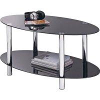 Hygena Matrix Oval Coffee Table - Black Glass. | eBay