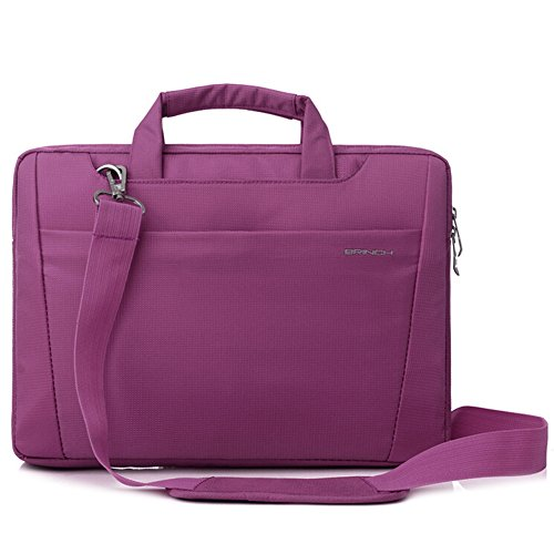 BRINCH-Nylon-Lightweight-Durable-Laptop-Shoulder-Case-Carrying-Messenger-Bag-Briefcase-For-13-14-Inch-Laptop-Notebook-MacBook-Chromebook-Computers-with-Shoulder-Strap-and-Pockets-Purple