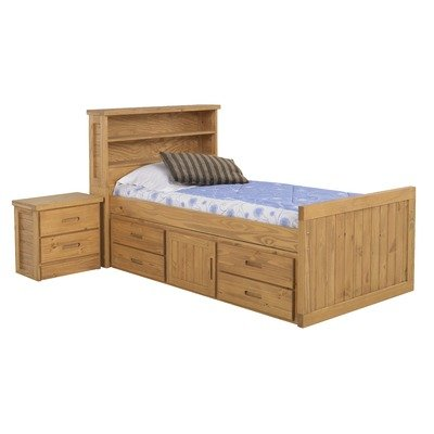 Image of American Woodcrafters 2000-973 / 2000-949 Bookcase Bed Bedroom Set Kid's Scene Bookcase Bedroom Set in Deep Rustic (B004OD1FBM)