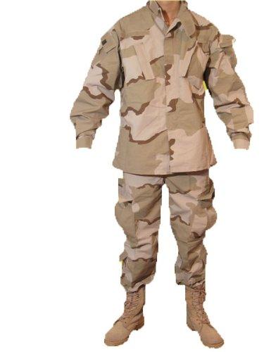 3カラーデザート 迷彩柄 BDU 迷彩服 戦闘服 パンツ&ジャケット 上下セット サイズL