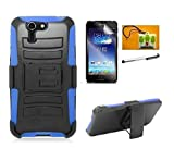 LF 4 in 1 Bundle - Black Hybrid Heavy Duty Impact Belt Clip Holster Stand Fusion Tuff, Stylus Pen, Screen Protector & Wiper for Asus Padfone X (Holster Blue)