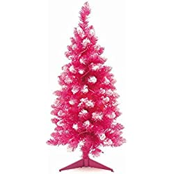 holiday essentials 3 foot prelit pink artificial christmas tree with white flocking 35 clear white - Pink Christmas Trees