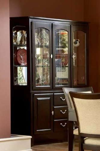 Image of China Cabinet Buffet Hutch Contemporary Style in Dark Cherry Finish (VF_HE1377-50)