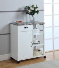 Kings Brand White Finish Wood & Marble Vinyl Top Kitchen ...