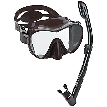 Cressi Frameless Mask Sleek 100% liquid silicone skirt attached directly to the tempered glass lens. No mask frame means the frameless mask offers an incredible field of vision and packs flat. | Cressi Desert Dry Snorkel is the first submersible dry ...
