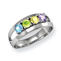 Amazon.com: Genuine 4 Stone Mothers Ring in 14k White Gold