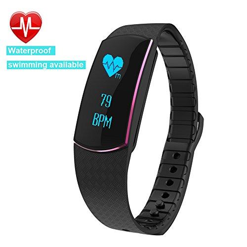 Willful SW326 Fitness Armband mit Pulsmesser - Bluetooth Armbanduhr Aktivitätstracker Schrittzähler Uhr mit Puls Schlafanalyse Kalorienzähler Vibrationswecker Anruf SMS SNS Vibration für Android iOS