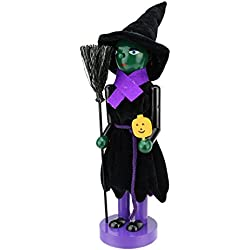Northlight Green Witch Decorative Wooden Halloween Nutcracker Holding Broom and Jack-O-Lantern, 14""