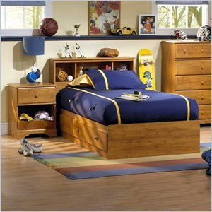 Image of South Shore Amesbury Kids Twin Wood Captain's Bed 3 Piece Bedroom Set in Country Pine (3432080-PKG)